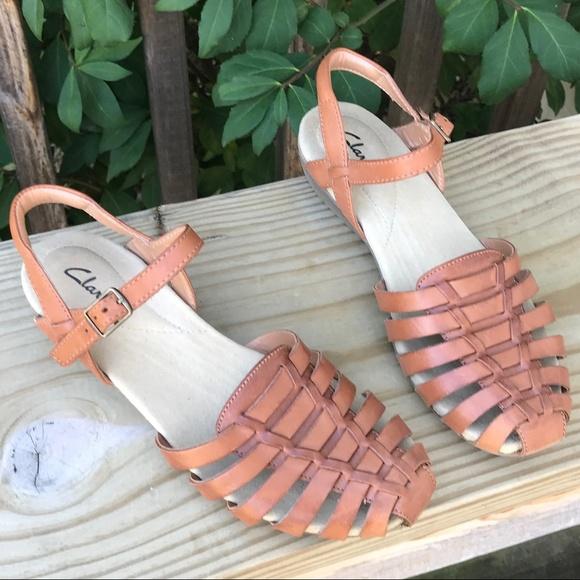 8166cb52a73dd1 Clarks Shoes - Clarks Brown Huarache Jaina Rouge Tan Sandal (8)